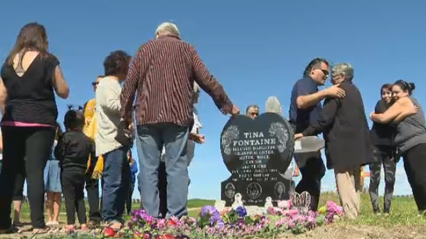 Friends and family mourned Tina Fontaine at a ceremony in Sagkeeng First Nation on Aug. 17, 2015. A monument for the teen found murdered in Winnipeg one year earlier was unveiled Monday.