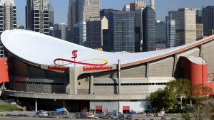 The Saddledome arena, home to the Calgary Flames, in the foreground of the downtown skyline in Calgary, Alberta on May 12, 2015. (Larry MacDougal / THE CANADIAN PRESS)