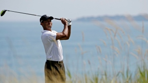 Tiger Woods hits on the fifth hole during the second round of the PGA Championship golf tournament Friday, Aug. 14, 2015, at Whistling Straits in Haven, Wis. (AP / Brynn Anderson)