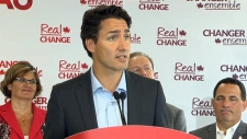 Liberal Leader Justin Trudeau speaks in Sudbury