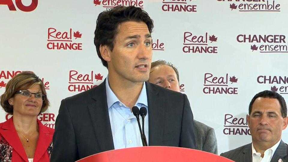 Liberal Leader Justin Trudeau speaks in Sudbury, Ont., Tuesday, Aug. 18, 2015.