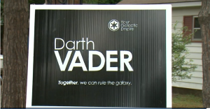 A Darth Vader election sign sits on a lawn in Penetanguishene, Ont. on Tuesday, Aug. 18, 2015. (CTV Barrie)