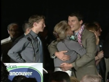 Gregor Robertson hugs his wife Amy after officially winning the Vancouver mayor race. November 15, 2008.