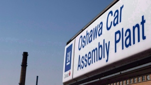 A sign outside Oshawa's General Motors car assembly plant is shown in Oshawa, Ont., in this file photo from Sept.17, 2012. (Michellle Siu/THE CANADIAN PRESS)