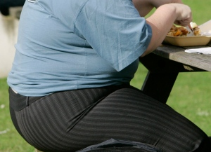 In this Wednesday, Oct. 17, 2007 file photo, an overweight person eats at a bench in London. (AP /Kirsty Wigglesworth)