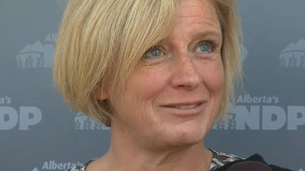 Premier Rachel Notley answered questions from the media on a proposed arena for the City of Calgary while campaigning with NDP candidate Bob Hawkesworth on August 19, 2015.