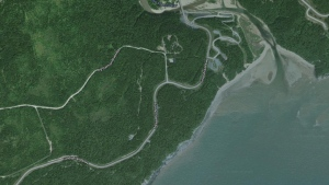 Joint Task Force Atlantic said in a tweet that it sent a Cormorant helicopter to a cliff along the Fundy Footpath, seen here in a Google Maps image, roughly 80 kilometres northeast of Saint John, to rescue two men. (Google Maps)