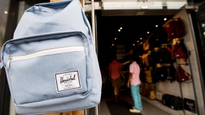 A Herschel backpack is showcased at the Koop retail store in Toronto on Tuesday, August 18, 2015. (Nathan Denette / THE CANADIAN PRESS)
