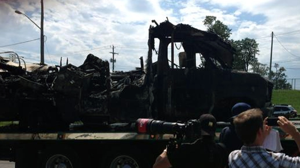 What remains of an RV that caught fire
