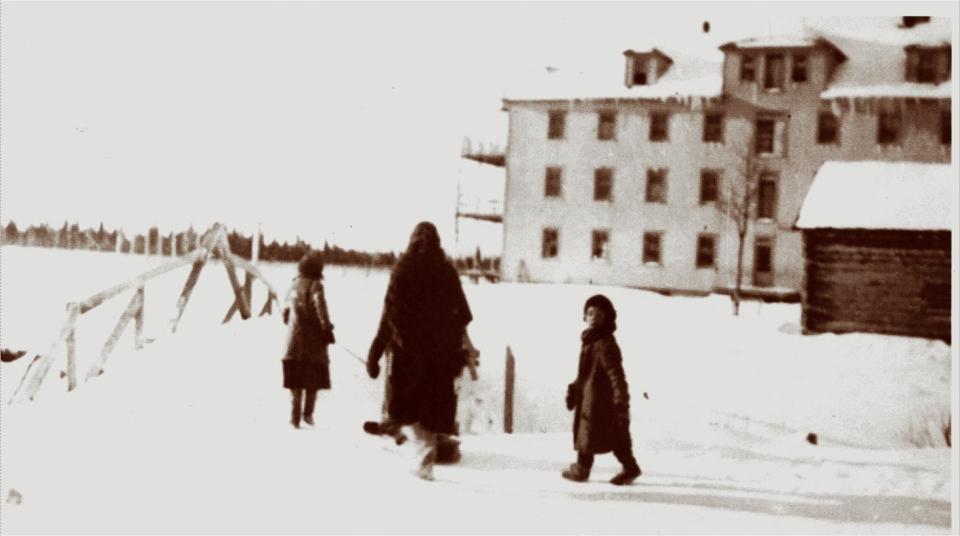 Child being taken to St. Anne's Residential School, Fort Albany, date unknown. (Edmund Metatawabin collection / Shingwauk Residential Schools Centre / Algoma University. Courtesy of Edmund Metatawabin)