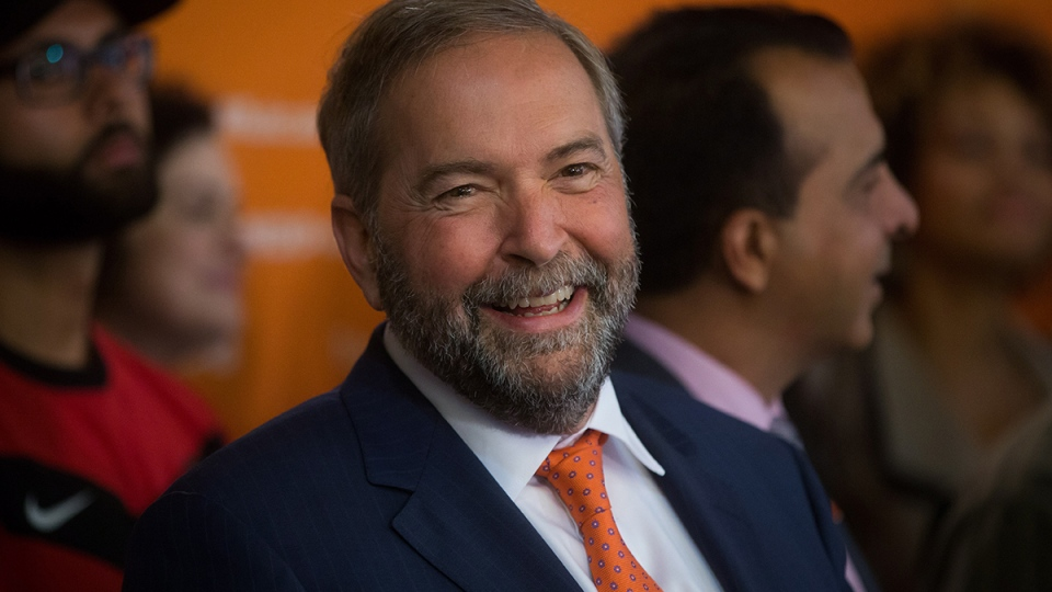 NDP Leader Tom Mulcair smiles during a campaign stop in Surrey, B.C., on Wednesday August 19, 2015. (Darryl Dyck / THE CANADIAN PRESS)