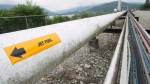 A pipeline is pictured at the Kinder Morgan Trans Mountain Expansion Project in Burnaby, B.C., on June 4, 2015. (Jonathan Hayward / THE CANADIAN PRESS)
