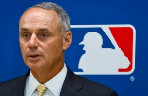 In this May 21, 2015, file photo, baseball Commissioner Rob Manfred speaks during a news conference in New York. (AP/Bebeto Matthews, File)