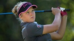 Brooke Henderson, of Smiths Falls, Ont., tees off on the 18th hole at the Canadian Pacific Women's Open LPGA golf tournament at the Vancouver Golf Club in Coquitlam, B.C., on Saturday, August 22, 2015. (THE CANADIAN PRESS/Jonathan Hayward)