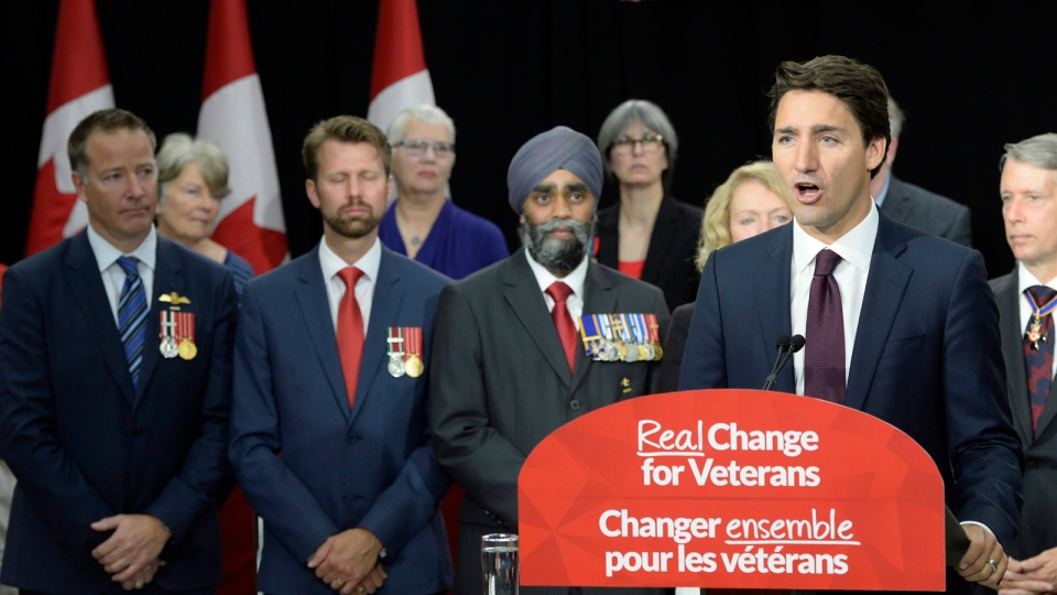 Liberal Leader Justin Trudeau speaks during a campaign stop in Belleville, Ont., on Monday, August 24, 2015. (Paul Chiasson / THE CANADIAN PRESS)