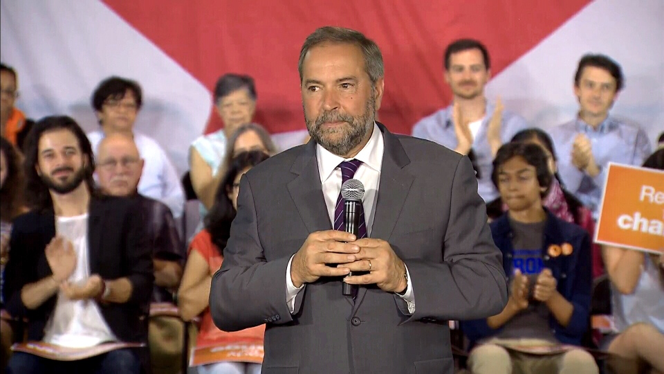 NDP Leader Thomas Mulcair speaks at a campaign event in Toronto, Aug. 24, 2015.