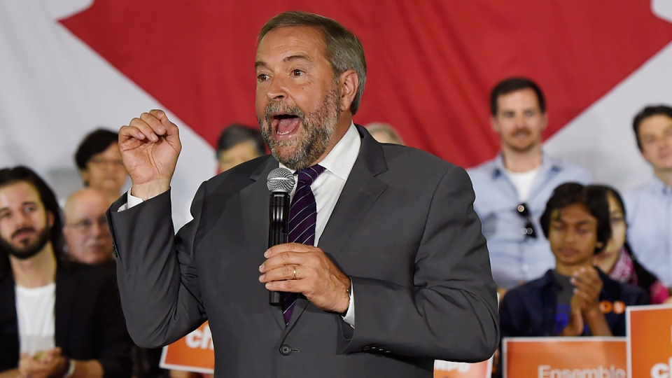 NDP Leader Tom Mulcair speaks to supporters during a campaign stop in Toronto on Monday, Aug. 24, 2015. (Frank Gunn / THE CANADIAN PRESS)