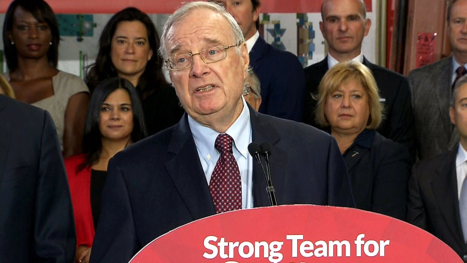 Former Prime Minister Paul Martin introduces Liberal Leader Justin Trudeau at a campaign event in Toronto on Tuesday, Aug. 8, 2015.