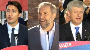 This composite photo shows Liberal Leader Justin Trudeau, NDP Leader Thomas Mulcair and Conservative Leader Stephen Harper on Aug. 25, 2015.