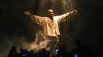 Kanye West performs during FYF Fest on Saturday, Aug. 22, 2015, in Los Angeles. (Photo by Rich Fury/Invision/AP)