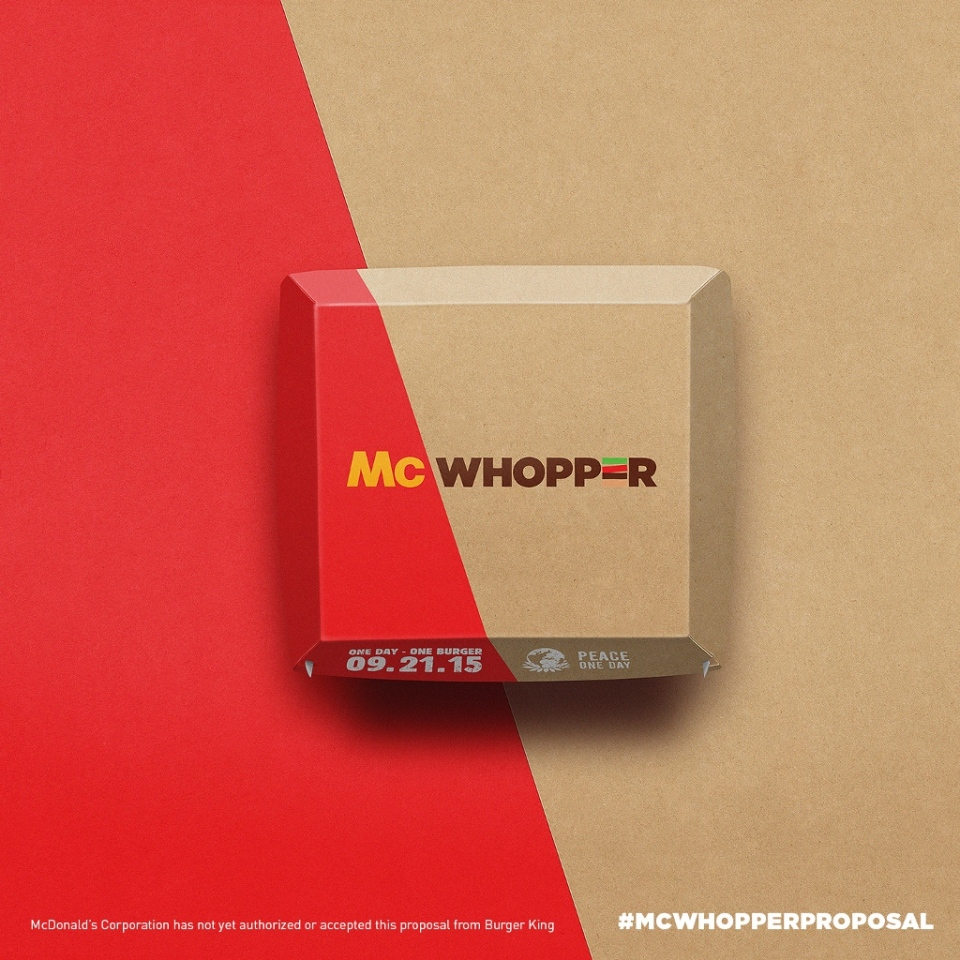 This photo provided by Burger King shows packaging for a 'McWhopper.' (Burger King)
