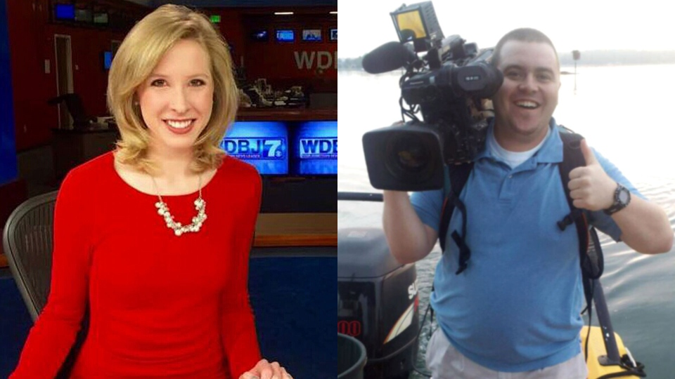 In this composite photo, Alison Parker and Adam Ward are pictured.