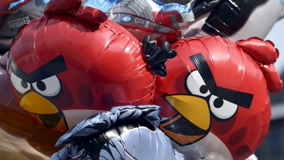 Angry Birds balloons on sale in Helsinki, Finland, on April 30, 2015. (Kimmo Mantyla / Lehtikuva)