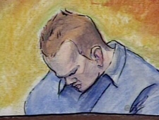 Jeremy Steinke lowers his head during the second day of his murder trial in Calgary, on Tuesday, Nov. 18, 2008.