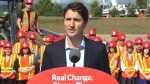Liberal Leader Justin Trudeau makes an announcement during a campaign stop in Oakville, Ont. on Thursday, Aug. 27, 2015.