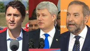 Leaders composition Trudeau, Harper, Mulcair