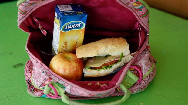 A student's lunch is shown in Quito, Ecuador, on Tuesday, May 6, 2014. (AP Photo/Dolores Ochoa)