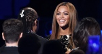 Beyonce greets Stevie Wonder in the audience before her performance at 'Stevie Wonder: Songs in the Key of Life - An All-Star Grammy Salute' at the Nokia Theatre L.A. Live on Tuesday, Feb. 10, 2015. (Chris Pizzello / Invision)