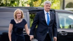 Prime Minister Stephen Harper and his wife Laureen at Rideau Hall in Ottawa on August 2, 2015. (Justin Tang / THE CANADIAN PRESS)