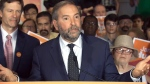 NDP Leader Tom Mulcair speaks at a campaign event in Montreal on Friday, Aug. 28, 2015.