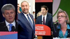 The four federal leaders are shown in this composite photo from the week of Aug. 24 - 28, 2015. (THE CANADIAN PRESS)