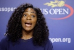 U.S. Open tennis defending champion Serena Williams speaks during a press conference at the USTA Billie Jean King National Tennis Center in New York on Thursday, Aug. 27, 2015. Williams is in position to win a Grand Slam this year if she wins the U.S. Open tennis tournament. (AP / Kathy Willens)