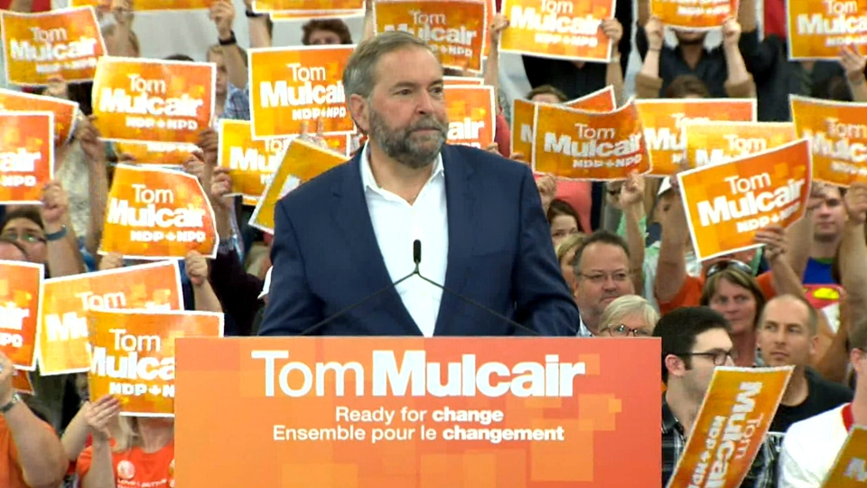 NDP Leader Tom Mulcair speaks at campaign event in Halifax, Sunday, Aug. 30, 2015.