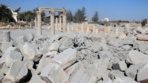 This undated file photo released Tuesday, Aug. 25, 2015 on a social media site used by Islamic State militants, which has been verified and is consistent with other AP reporting, shows the demolished 2,000-year-old temple of Baalshamin in Syria's ancient caravan city of Palmyra. (Islamic State social media account via AP)
