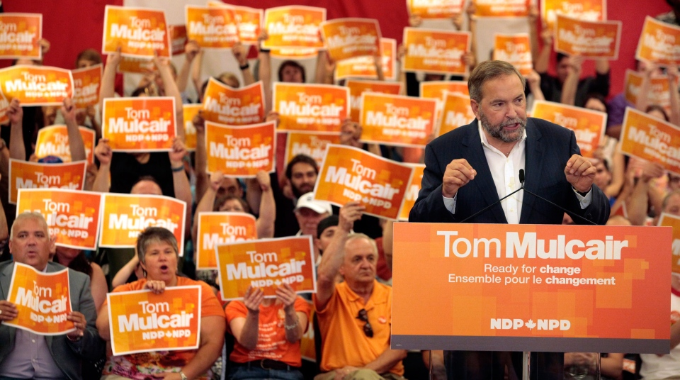 Federal NDP Leader Tom Mulcair speaks to supporters during a rally in Halifax on Sunday, Aug.30, 2015. (Darren Pittman / THE CANADIAN PRESS)