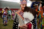 A young Miss Manito Abhee Sage Speidel, 14, from the Lakota nation, wears traditional clothing at an event celebrating National Aboriginal Day in Winnipeg, Manitoba, Tuesday, June 21, 2011. More than 1 million Canadians are of Aboriginal origin, and the nation has more than 600 recognized First Nations governments. (AP Photo/Kevin Frayer)