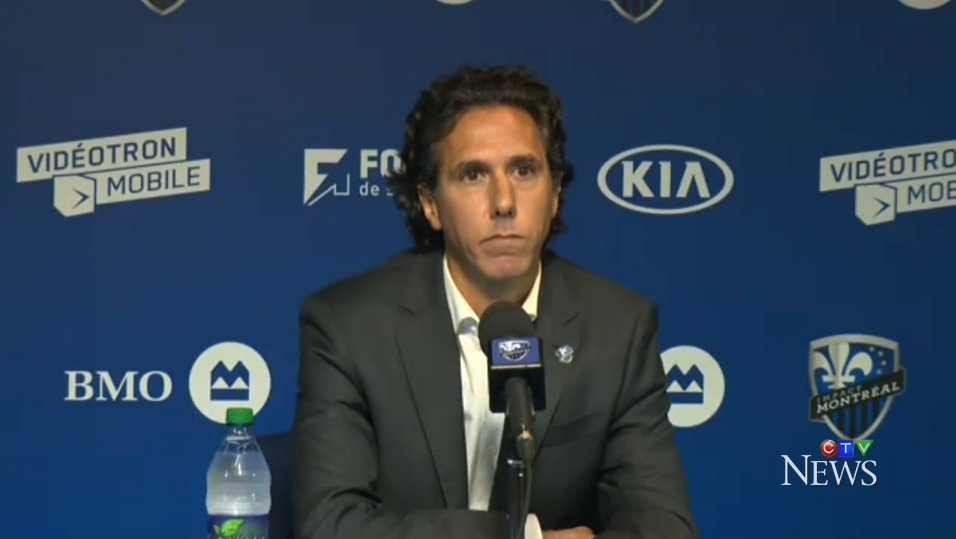 Interim Impact coach Mauro Biello addresses reporters Aug. 31, 2015.