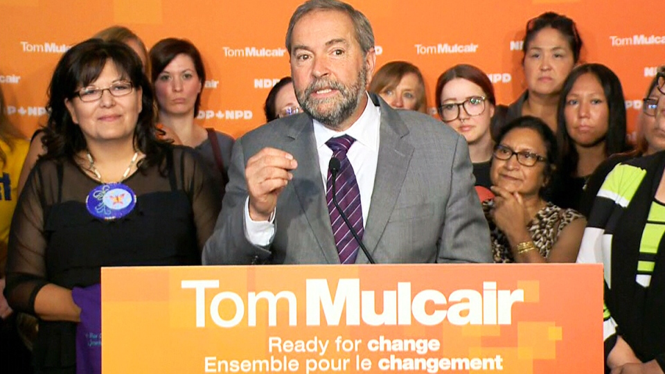 Tom Mulcair holds a campaign event in Saskatoon on Monday, Aug. 31, 2015.
