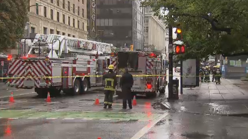 A natural gas leak behind the Vancouver Art Gallery forced road closures and traffic headaches on Monday, Aug. 31, 2015. (CTV)