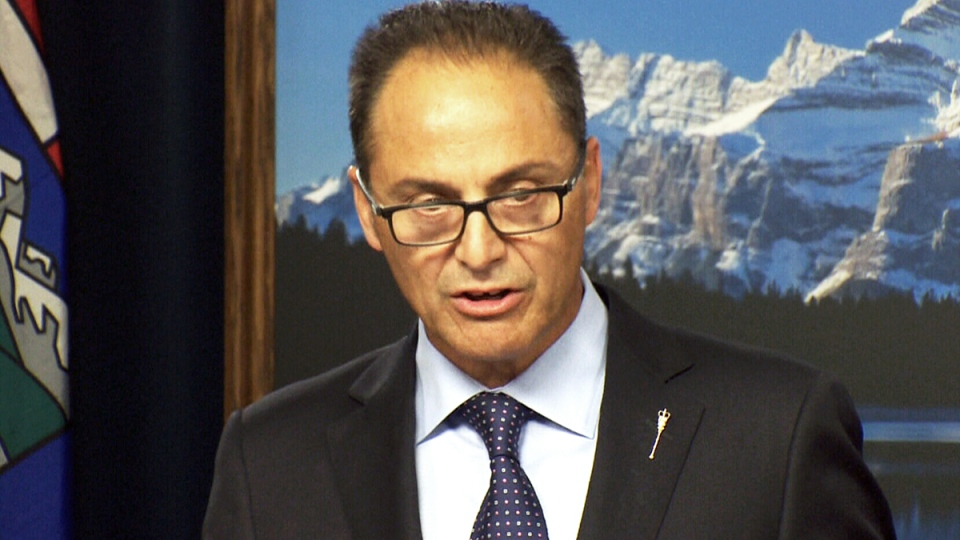 Alberta Finance Minister Joe Ceci on the government's 2015-16 first quarter fiscal update and economic statement, in Edmonton, Monday, Aug. 31. 2015.