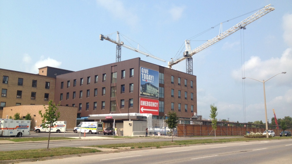 Construction cranes are an obvious sign of work on the renovation of Cambridge Memorial Hospital, as pictured on Monday, Aug. 31, 2015. (David Imrie / CTV Kitchener)