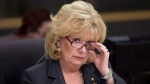 FILE - Sen. Pamela Wallin adjusts her glasses at the start of a meeting in Ottawa, on Monday, Feb. 11, 2013. (THE CANADIAN PRESS/Adrian Wyld)