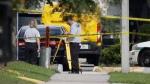 Investigators outside a World Wrestling Entertainment training facility in Orlando, Fla., on Aug. 31, 2015, (John Raoux / AP)