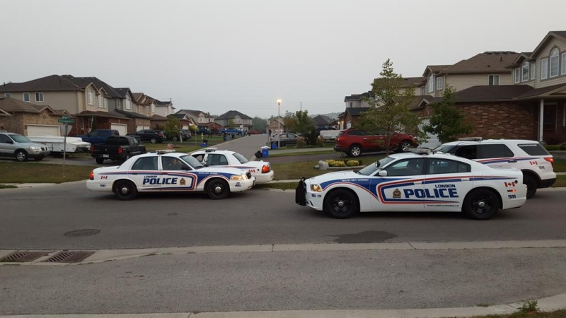 Police block off Briar Court in London, Ont, while they investigate reports of gun fire on Tuesday, September 1st, 2015. (CTV London / Justin Zadorsky)