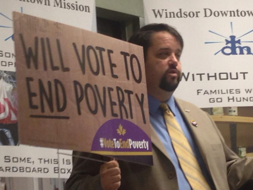 Vote to End Poverty sign