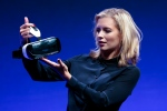 In this file photo, British television presenter Rachel Riley shows a virtual-reality headset called Gear VR during an unpacked event of Samsung ahead of the consumer electronic fair IFA in Berlin, Wednesday, Sept. 3, 2014. (AP / Markus Schreiber)